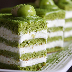 Green Tea Almond Genoise Layer Cake