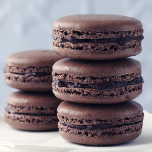 Dark chocolate French macarons